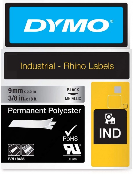 Dymo Rhino Band Industrie Polyesteretiketten, 9 mm x 5.5 m, schwarz/metallic