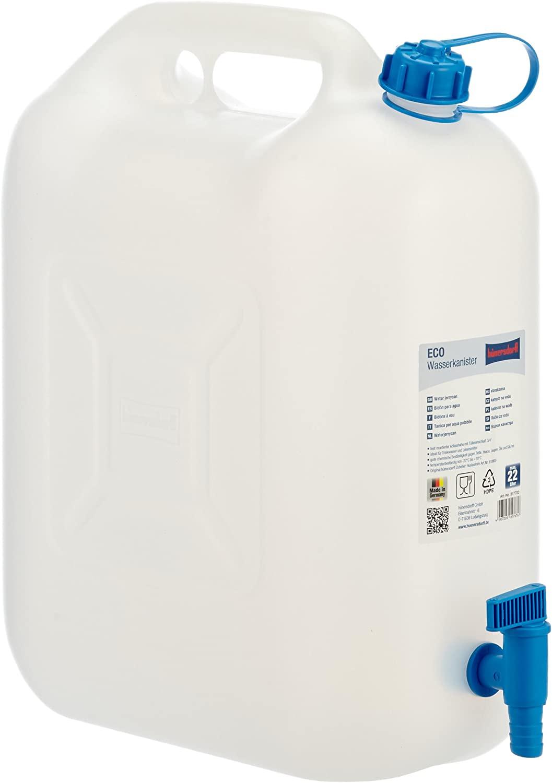 hünersdorff 817700 Wasserkanister ECO mit festmontiertem Ablasshahn / Wasserauslauf, 22 L (mit Hahn)