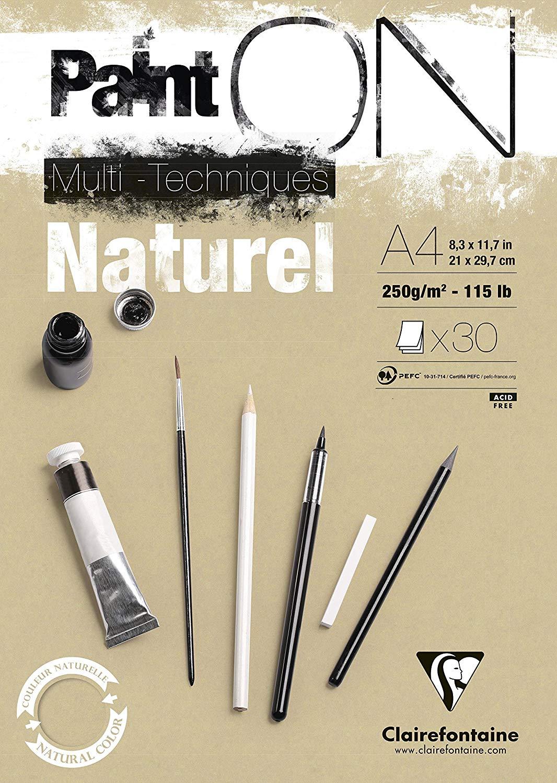 Clairefontaine 96540C Naturel PaintOn Block (250 g, DIN A4, 21 x 29,7 cm, geleimt, 30 Blätter, geeig