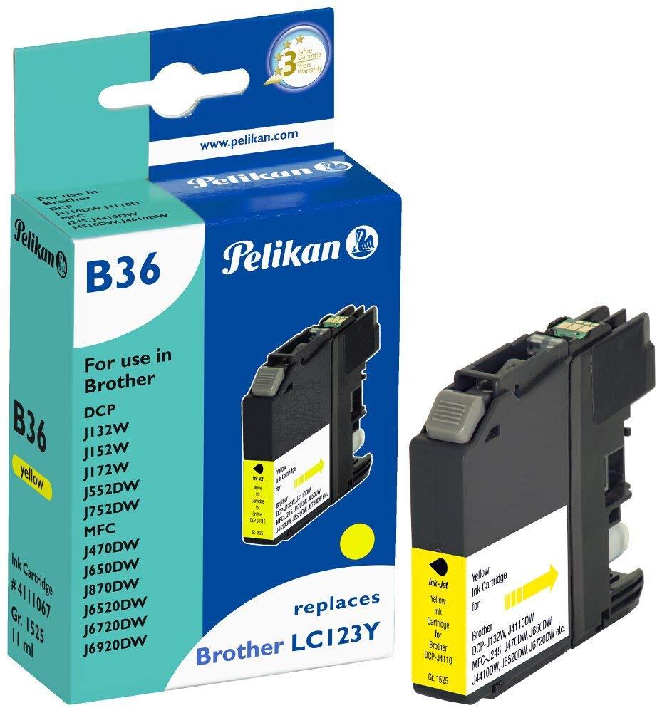 Pelikan Tintenpatrone ersetzt Brother LC123HC, Yellow, 784 Seiten