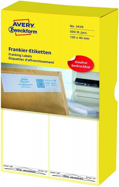 AVERY Zweckform 3439 Frankier-Etiketten (Papier matt, 500 Etiketten, 130 x 40 mm) 1 Pack weiß
