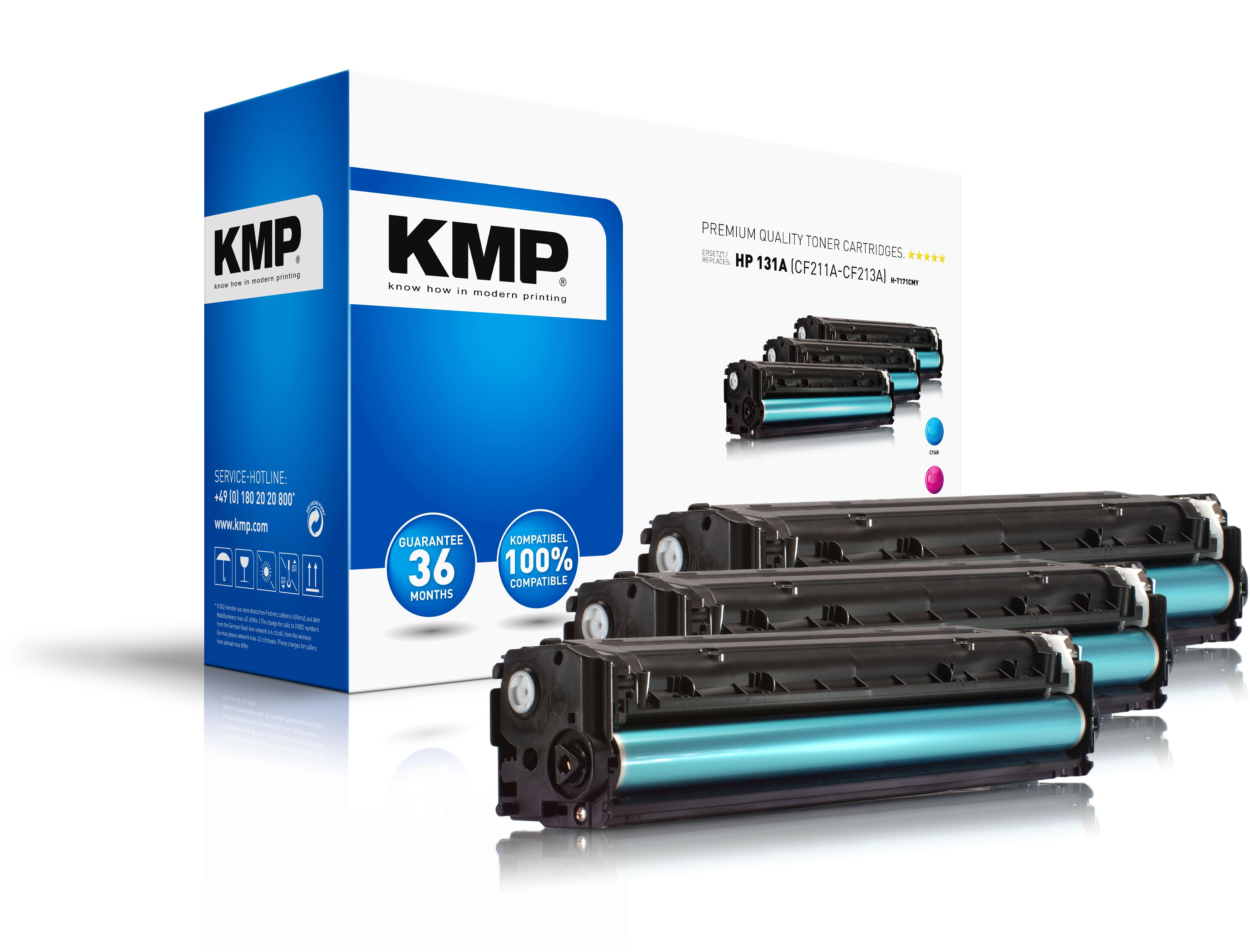 KMP Multipack Toner H-T171CMY für HP 131A (CF211A, CF213A, CF212A)HP LaserJet Pro 200 etc.  cyan, ma