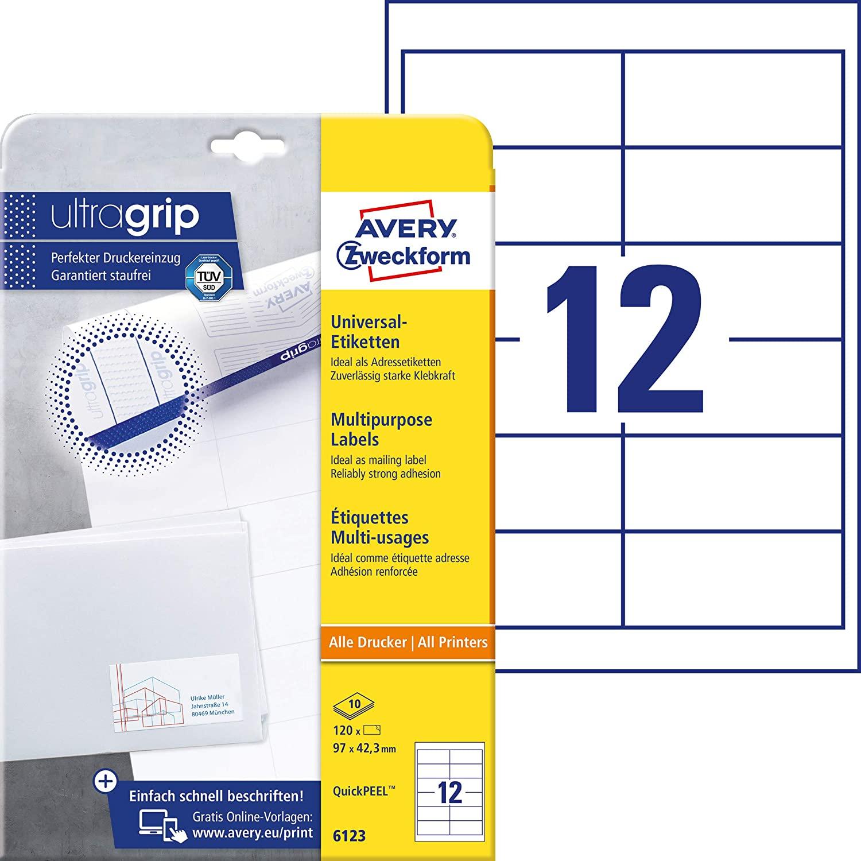 AVERY Zweckform 6123 Adressaufkleber (mit ultragrip, 97 x 42,3 mm auf DIN A4, Papier matt, bedruckba