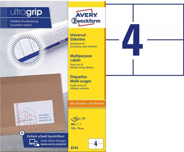 AVERY Zweckform 6133 Universal Etiketten (mit ultragrip, 105 x 74 mm auf DIN A5 quer, Papier matt, b