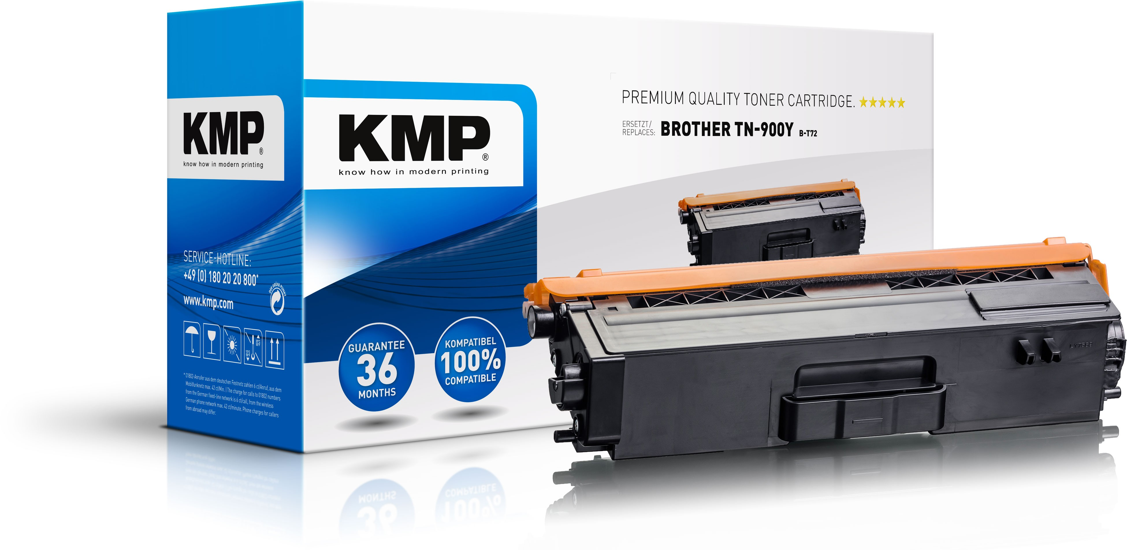 KMP Toner B-T72 für Brother TN900Y  HL-L9200CDWT etc. yellow