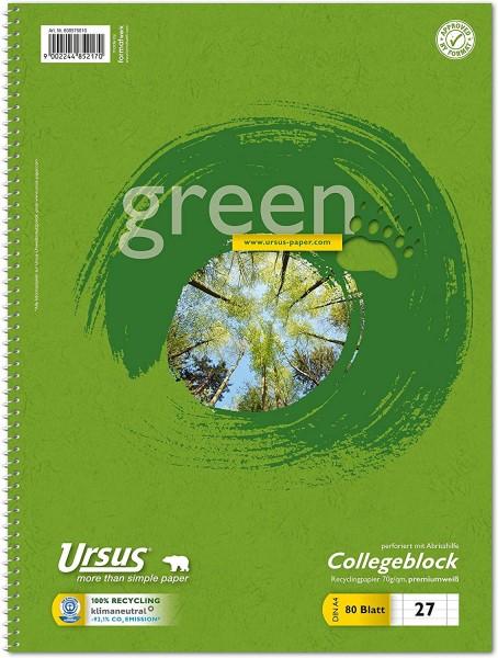 Ursus Green 608575010 Collegeblock LIN27 A4 80 Blatt 70g/qm 9mm liniert mit Randlinien
