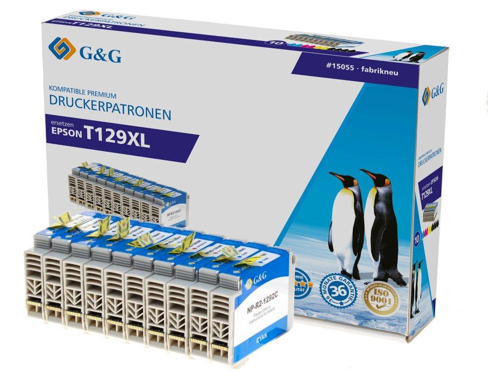 G&G Tinte ersetzt Epson T1291, T1292, T1293, T1294, T1295 Kompatibel 10er-Pack Schwarz, Cyan, Magent