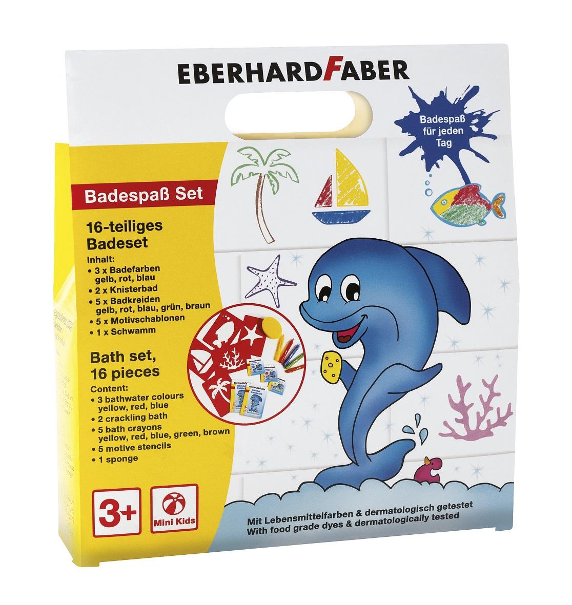 Eberhard Faber 524116 - 16 teiliges Badeset - Badespaß Set für Kinder zum Malen und Zeichnen auf Fli