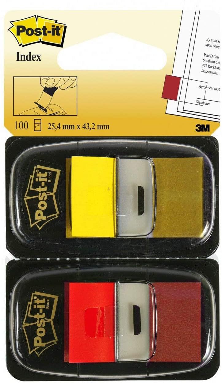 Post-it I680-RY2 Haftstreifen Index Standard, 2 x 50 Haftstreifen im Spender, 25,4 x 43,2 mm, rot, g
