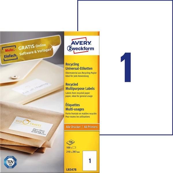 AVERY Zweckform LR3478 Recycling Etiketten (100 Klebeetiketten, 210x297mm auf A4, 100% recyceltes Al