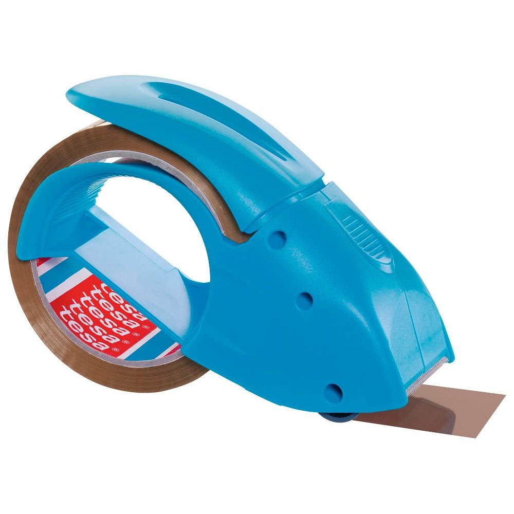 tesapack Abroller Pack' n' Go - Ergonomischer, blauer Handabroller für Paketbänder - Inklusive 50 m