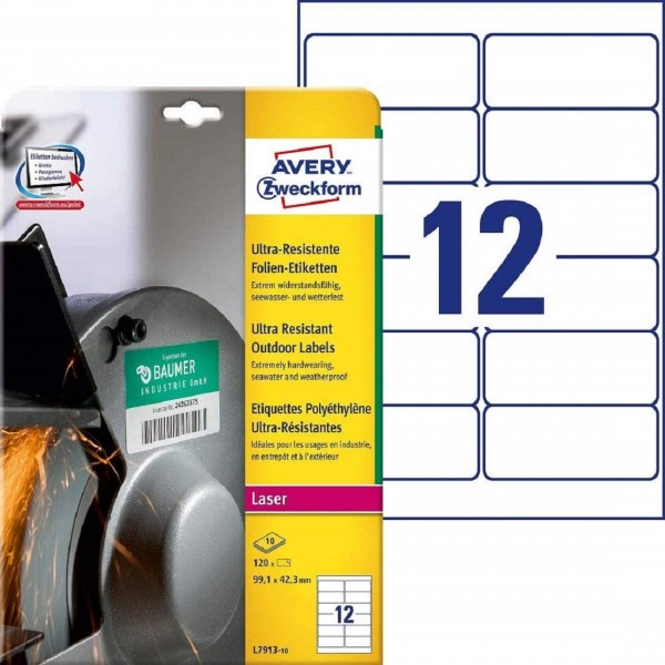 AVERY Zweckform L7913-10 Strapazierfähige Folienetiketten (99,1x42,3 mm auf DIN A4, extrem stark sel