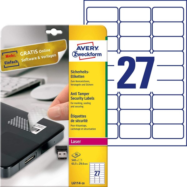 AVERY Zweckform L6114-20 Sicherheitsetiketten (63,5x29,6 mm auf DIN A4, stark selbstklebend, mit Sch