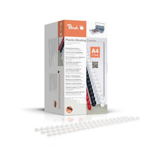 Peach PB404-01 Plastikbinderücken DIN A4, 4 mm, 200 Stück, Weiß
