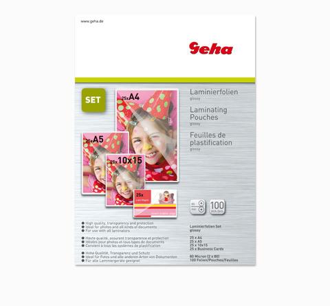 Geha Laminierfolienset 80 Micron A4-A7 glossy