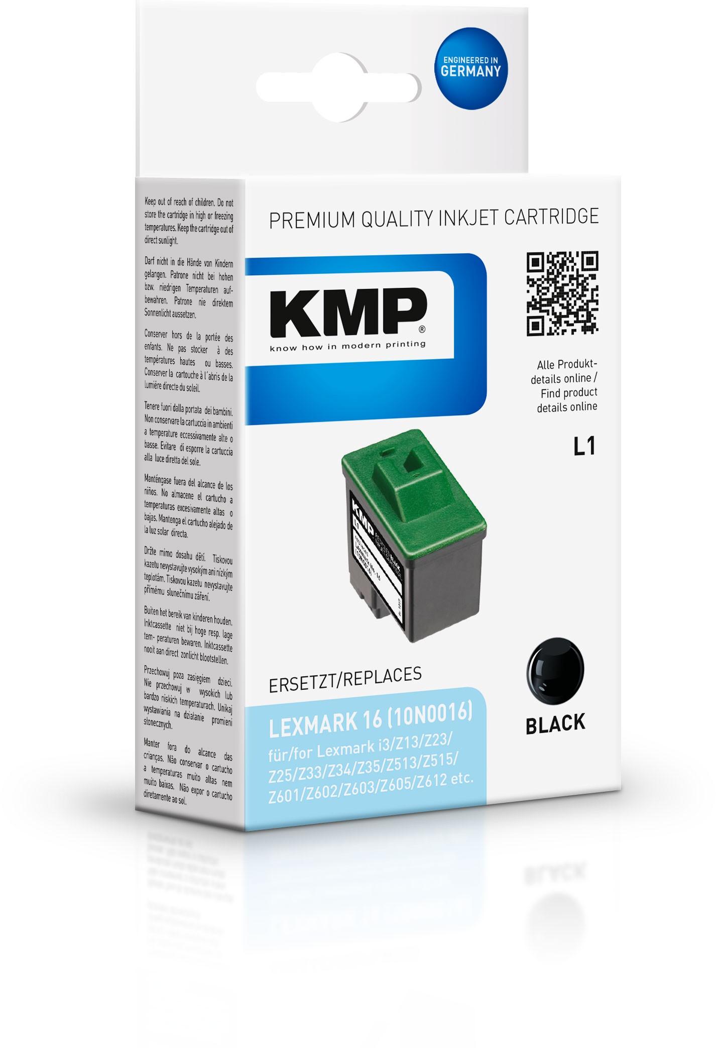 KMP Patrone L1 komp. zu Nr. 16 Lexmark Z13 Z25 Z35 Z600 schwarz