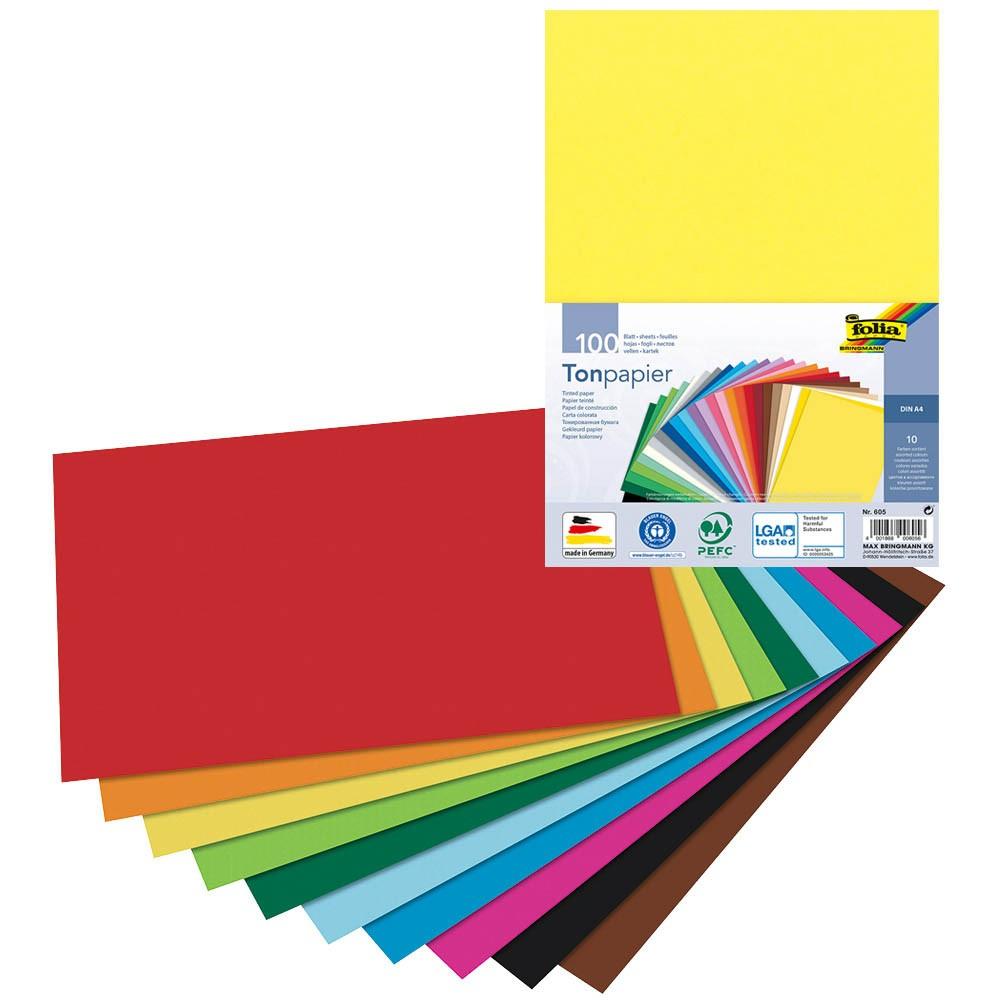 folia 605 - Tonpapier DIN A4, 100 Blatt sortiert in 10 Farben - die ideale Grundlage für vielfältige