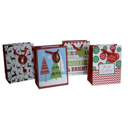 Weihnachtliche Geschenktragetasche - 12 Stück, sortiert, 18 x 23 x 10 cm