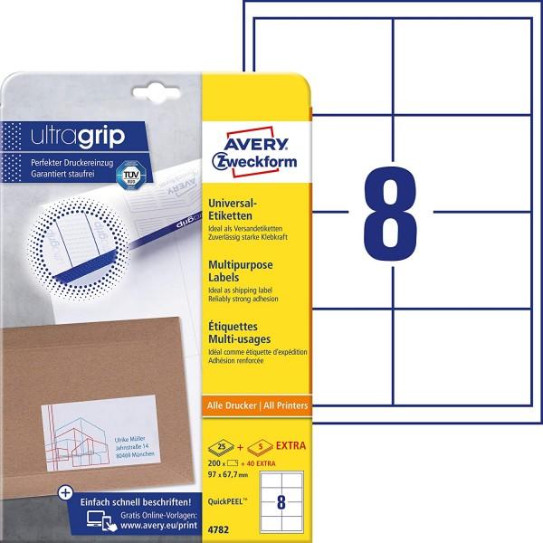 AVERY Zweckform 4782 Universal Etiketten (200 plus 40 Klebeetiketten extra, 97x67,7mm auf A4, bedruc