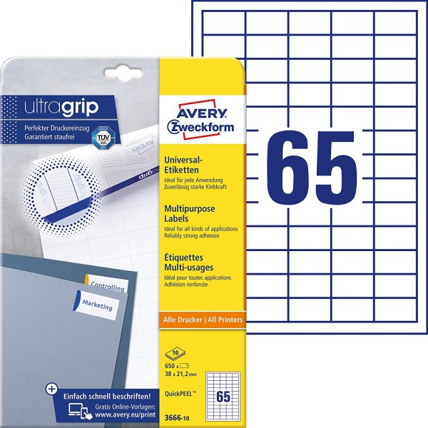 AVERY Zweckform 3666-10 Universal-Etiketten (A4, Papier matt, 650 Etiketten, 38 x 21,2 mm, 10 Blatt)