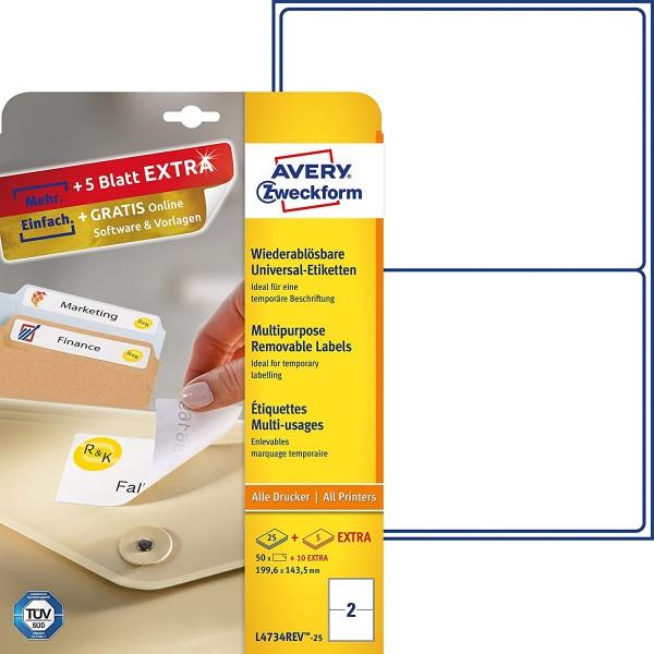 AVERY Zweckform L4734REV-25 Universal Etiketten (50 plus 10 Klebeetiketten extra, 199,6x143,5mm auf