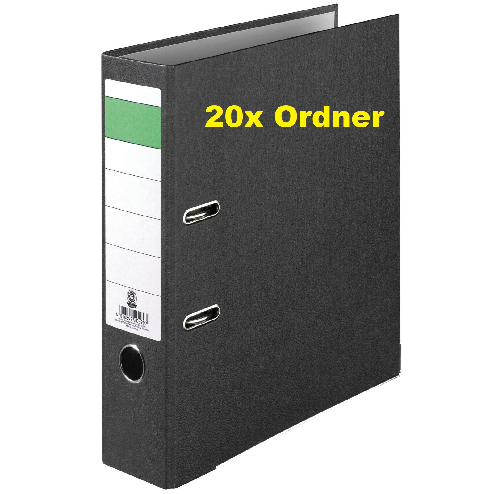 20x Ordner Economy DIN-A4, 8cm Wolkenmarmorbezug schwarz Aktenordner Briefordner