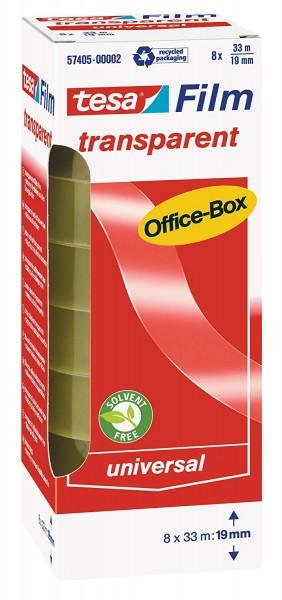 tesafilm Klebeband, transparent, Office-Box mit 8 Rollen, 33m x 19mm 57405-00002