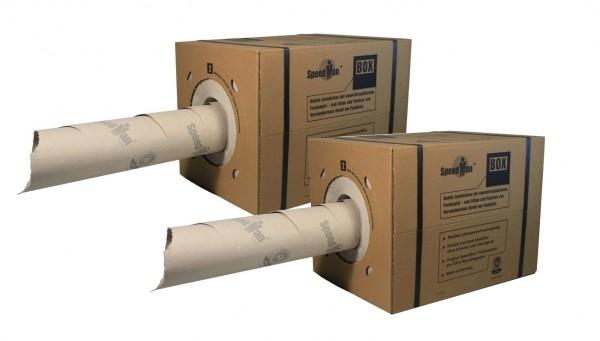 2 SpeedMan Boxen mit 450m Packpapier | Grammatur 70 gr/m² | Schrenzpapier Spender | in verschiedenen