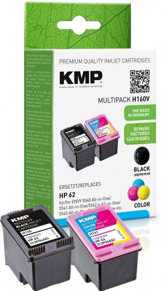 KMP Multipack H160V schwarz, cyan, magenta, gelb Tintenpatronen ersetzen HP ENVY HP 62 (N9J71AE)