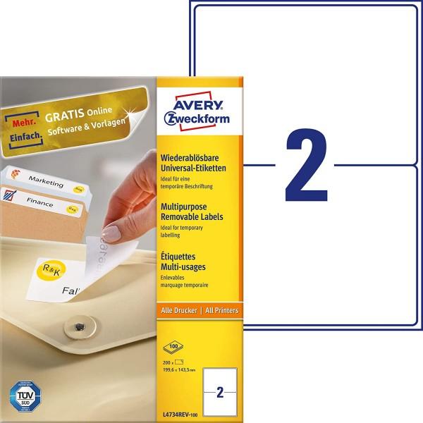 AVERY Zweckform L4734REV-100 Universal Etiketten (200 Klebeetiketten, 199,6x143,5mm auf A4, wieder r