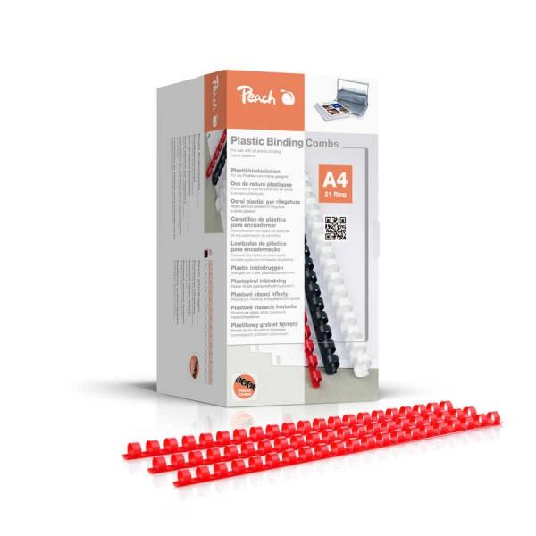 Peach PB404-03 Plastikbinderücken DIN A4, 4 mm, 200 Stück, Rot