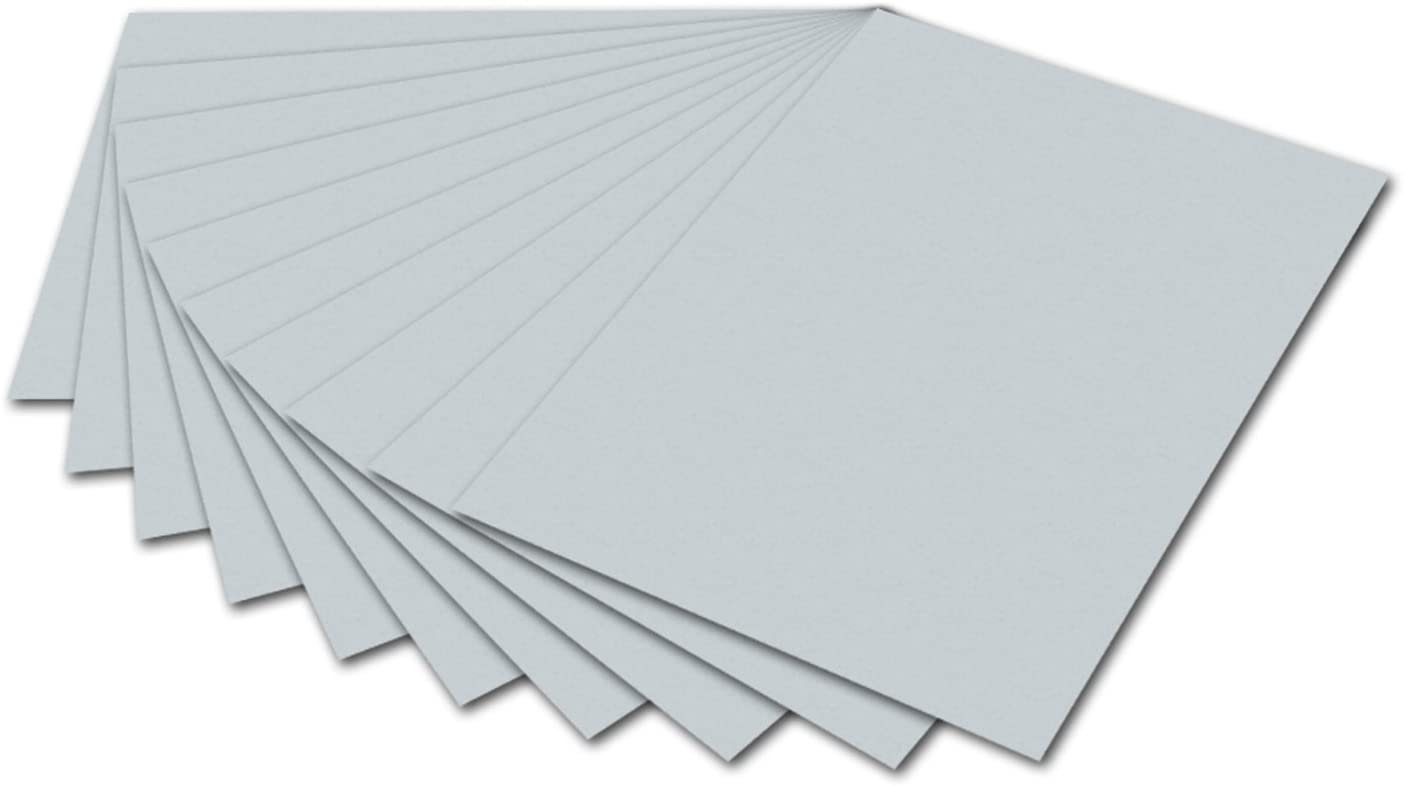 folia 6480 - Tonpapier hellgrau, DIN A4, 130 g/qm, 100 Blatt - zum Basteln und kreativen Gestalten v