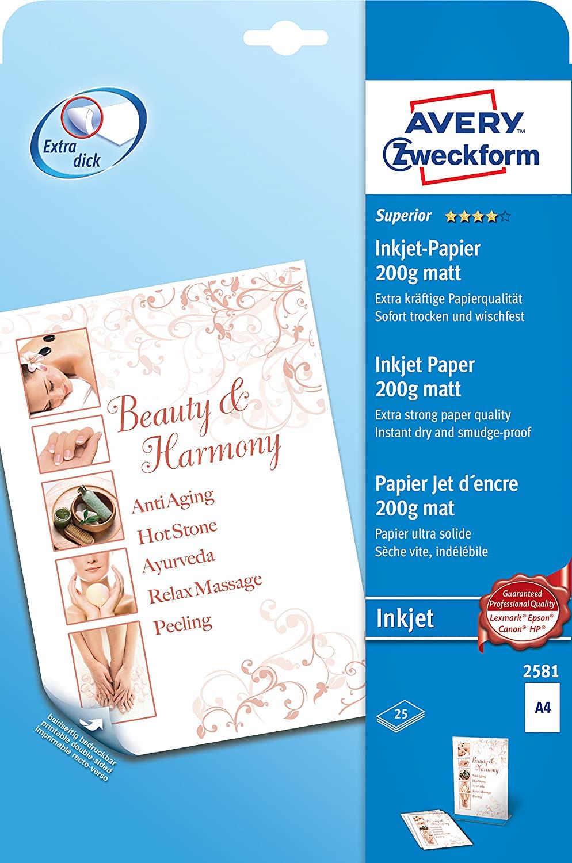 AVERY Zweckform 2581 Superior Inkjet Papier (A4, beidseitig beschichtet, matt, 200 g/m², 25 Blatt)