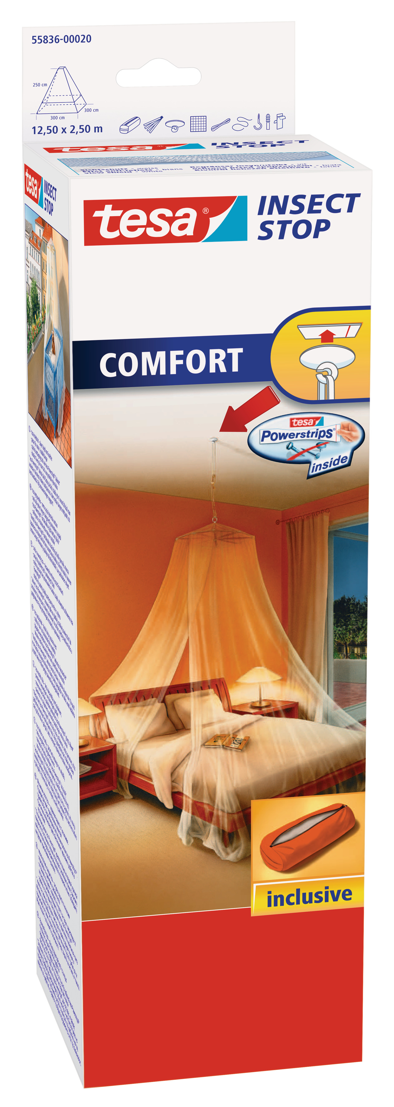 tesa Fliegengitter Comfort Moskitonetz mit Deckenhaken, weiß