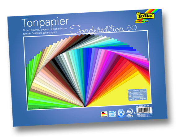 Folia Tonpapier 130g/m² 25 x 35 cm 50 Bogen sortiert