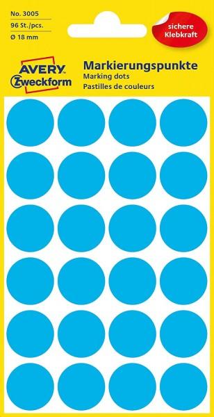 AVERY Zweckform 3005 selbstklebende Markierungspunkte 96 Stück (Ø18mm, Klebepunkte auf 4 Bogen, Punk