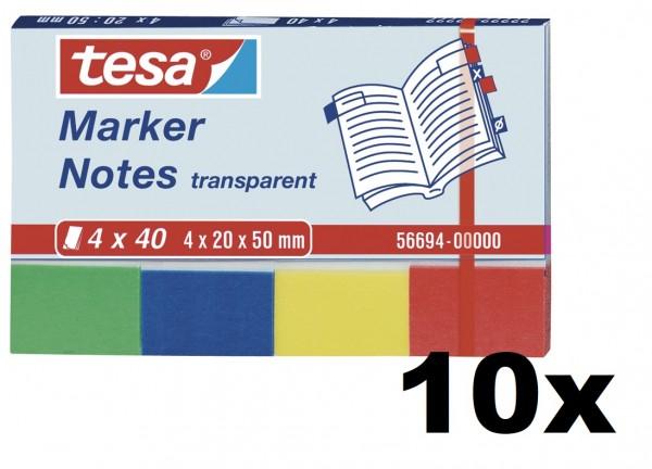 10x tesa Marker Notes, 4 x 40 Blatt, transparent 20mm x 50mm