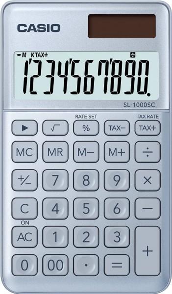 CASIO SL-1000SC-BU stylischer Taschenrechner, 10-stellig, BLAU