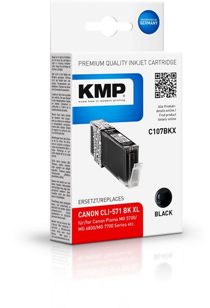 KMP Patrone C107BKX komp. CLI571BKXL für Canon Pixma MG 5700 black