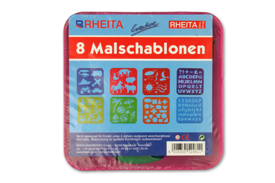 Malschablonen Set 15x15cm / 8tlg. mit verschiedenen Motiven, Zahlen, Buchstaben