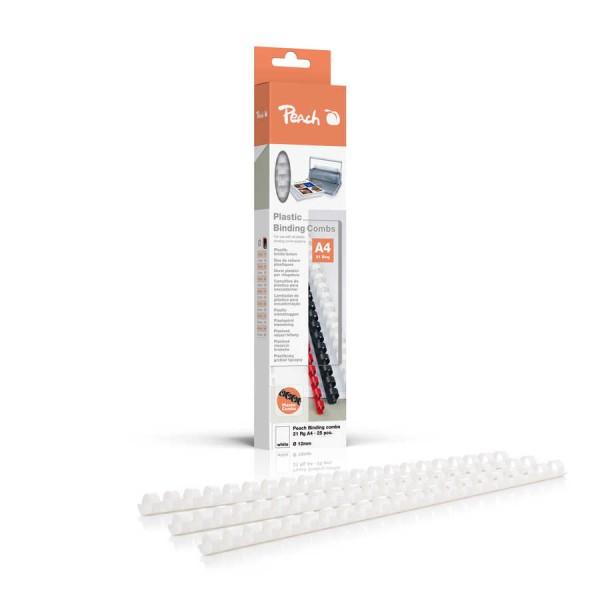 Peach Plastik Binderücken 12mm weiss Inhalt 25 Stück