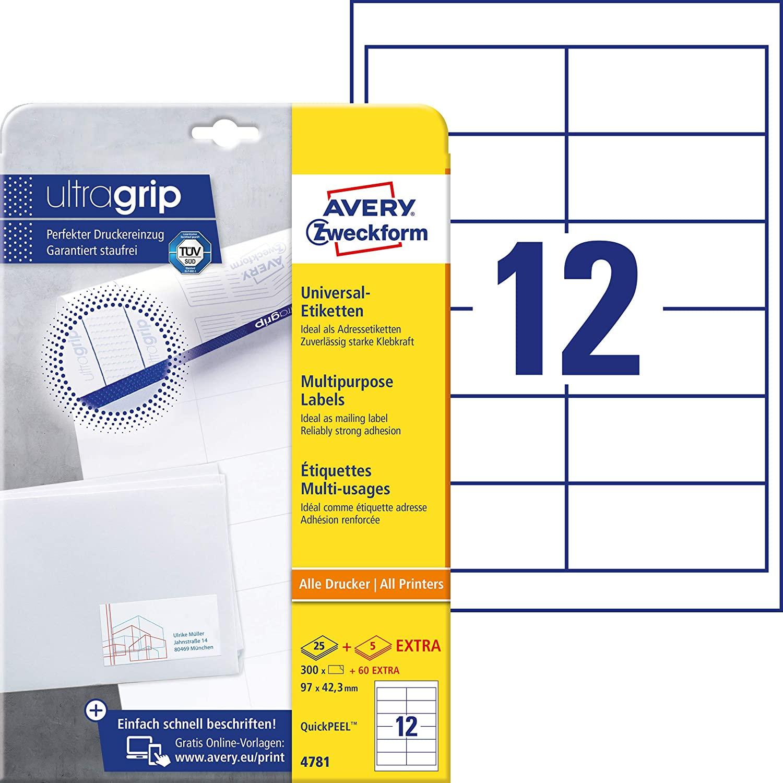 AVERY Zweckform 4781 Adressaufkleber (300 plus 60 Klebeetiketten extra, 97x42,3mm auf A4, Papier mat