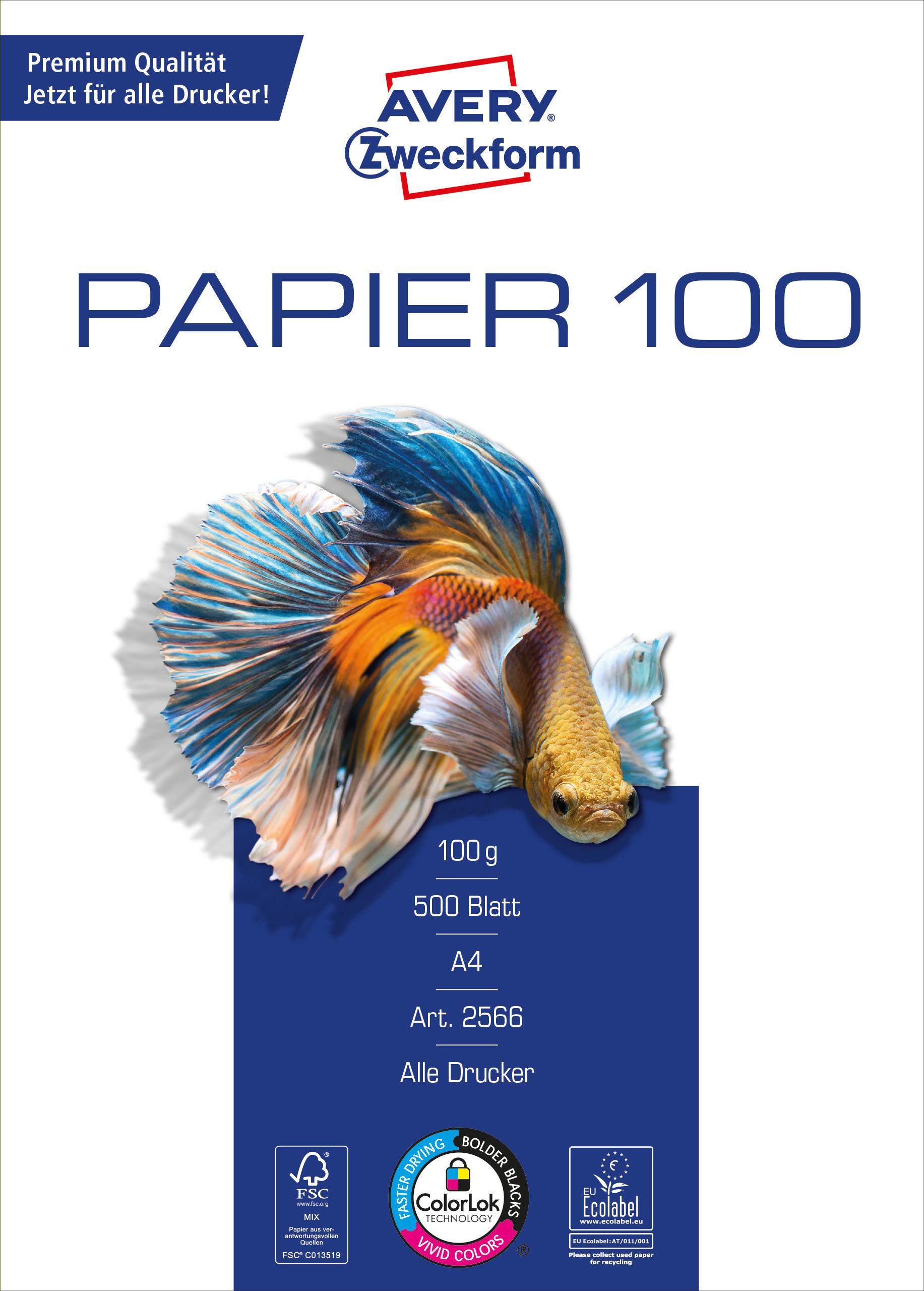 Avery Zweckform Papier 2566 - 100g/m² DIN-A4 500 Blatt weiß