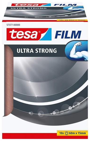 tesafilm Ultra Strong 10 Rollen Premium-PVC-Klebefilm (transparent, 60m:15mm, zum sicheren Verschlie
