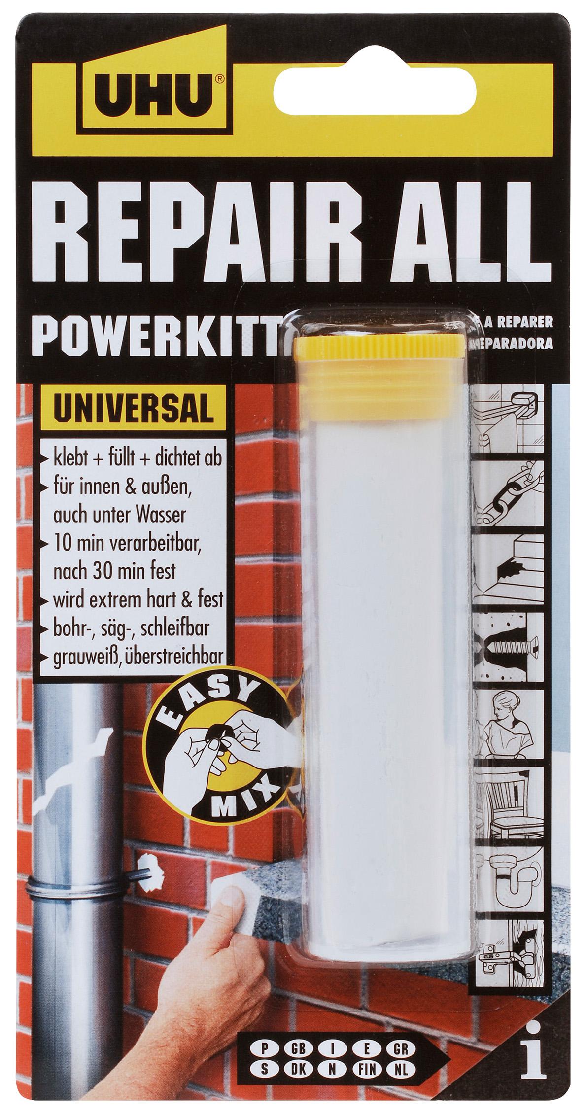 UHU Repair all powerkit universelle Klebstoffknetmasse in der Box 60g