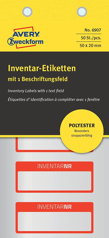 AVERY Zweckform 6907 Polyester Inventaretiketten (stark selbstklebend, strapazierbar, Kleinformat, 5