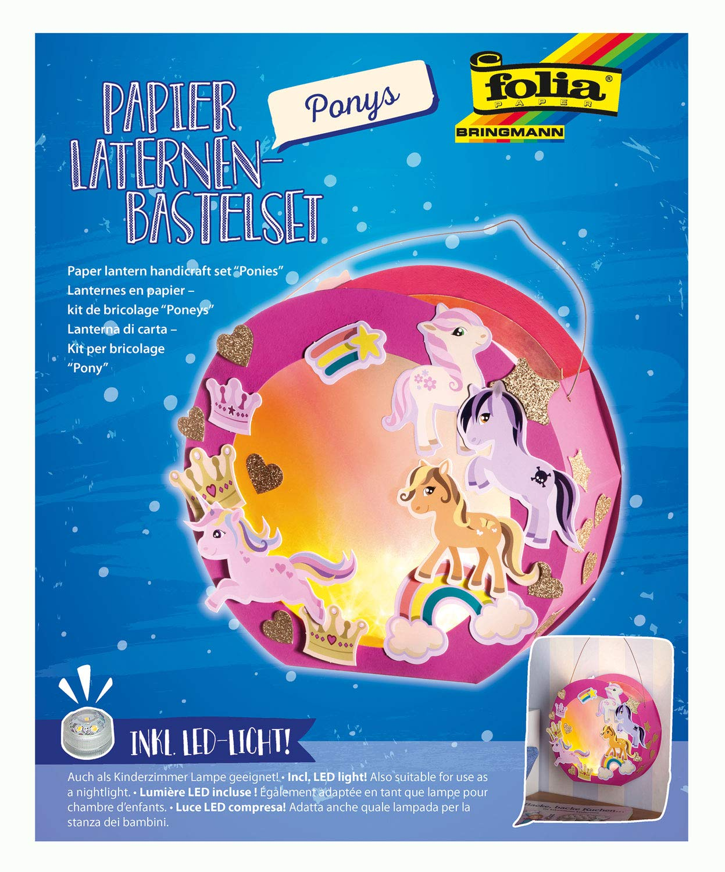 Folia 68106 Laternen-Bastelset, Ponys, inklusive Laternenstab und LED Licht, bunt