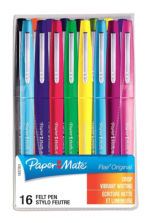 Paper Mate Flair - 16er Etui Faserschreiber in diversen knalligen Farben