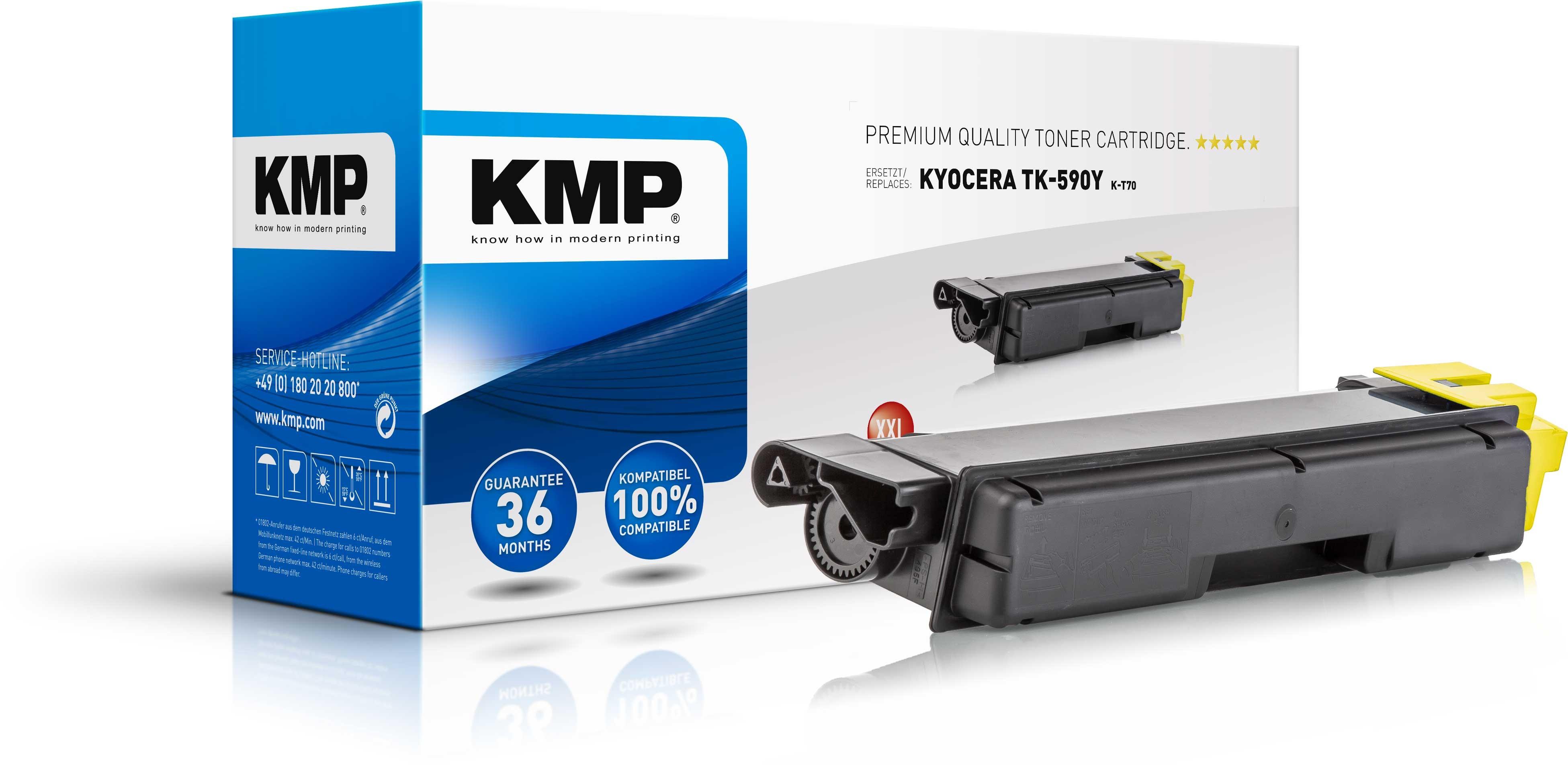 KMP Toner K-T70 für Kyocera TK-590Y XXL FS-C2026MFP etc. yellow