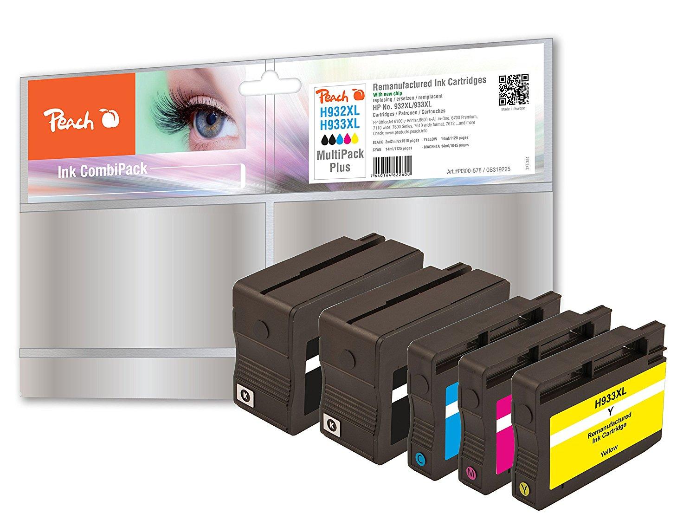 Peach Spar Pack Plus Tintenpatronen kompatibel zu HP No. 932XL, No. 933XL - PI300-578
